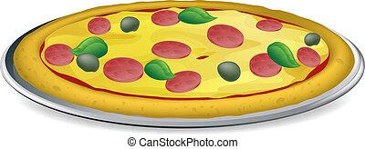 ilustração, pizza