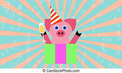 ilustração, porca, vidro, fundo, ano, partido, champanhe, novo, 3d