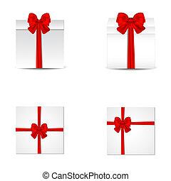 ilustração, presente, cobrança, realístico, caixas, vetorial, bows., cetim, vermelho