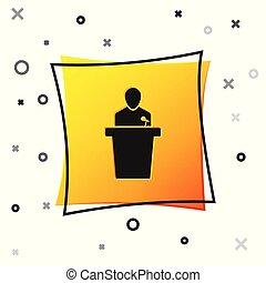 ilustração, pretas, quadrado, ícone, experiência., isolado, amarela, button., pessoa, vetorial, orador, podium., orador, branca, tribune., discurso público, speech.