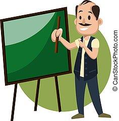 ilustração, quadro-negro, experiência., vetorial, branca, homem