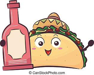 ilustração, quentes, garrafa, taco, molho, mascote