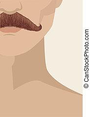 Ilustração, rosto, desenho, fundo, vetorial, bigode, homem