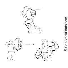 ilustração, símbolo, desporto