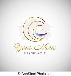 ilustração, símbolo, luxo, beleza, logo., vetorial, olho, cosmético, chicotadas, icon.