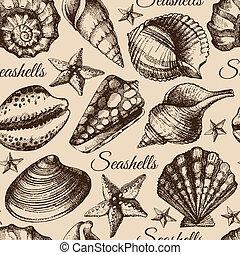 ilustração, seashell, seamless, esboço, pattern., mão, desenhado