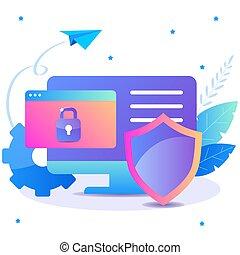 ilustração, segurança, shield., internet, apartamento, proteção dados, computador, concept.