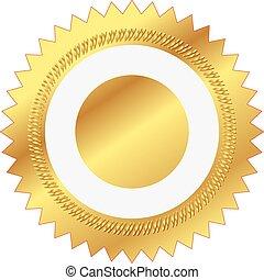 ilustração, selo ouro