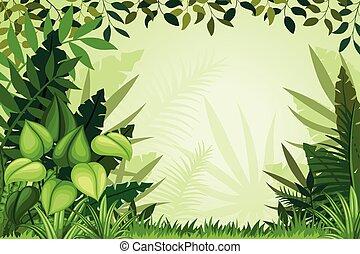 Ilustração, selva, paisagem