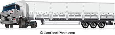 ilustração, semi-caminhão