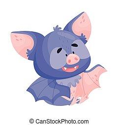 ilustração, sentando, morcego, personagem, falando, chão, vetorial, caricatura