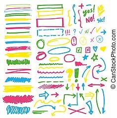 ilustração, setas, jogo, destaque, highlighter, texto, checkmark, ou, linhas, isolado, marcado, mão, elementos, vetorial, números, fundo, destaque, branca, desenho, selecione, marcadores