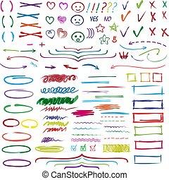 ilustração, setas, jogo, destaque, highlighter, texto, ou, linhas, isolado, marcado, mão, elementos, vetorial, números, fundo, destaque, branca, desenho, selecione, marcadores