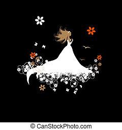 ilustração, seu, noiva, vetorial, desenho, bonito
