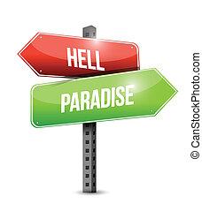 ilustração, sinal, desenho, paraisos , inferno, estrada