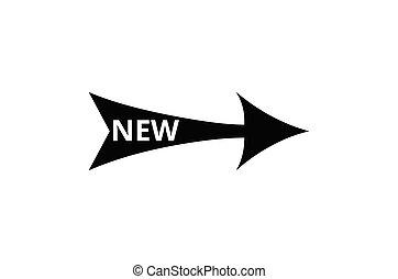 ilustração, sinal, novo, palavra, vetorial, seta