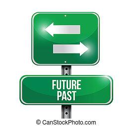 ilustração, sinal, passado, futuro, desenho, estrada