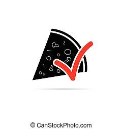 ilustração, sinal, vetorial, pizza, vermelho, ícone