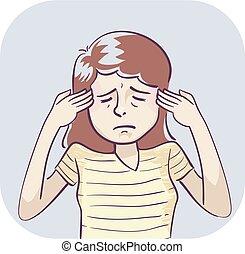 ilustração, sintoma, mulher, dor de cabeça