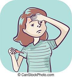 ilustração, sintoma, mulher, febre