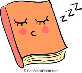 ilustração, sonolento, livro, experiência., vetorial, branca