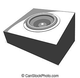 ilustração, sound-system, partido
