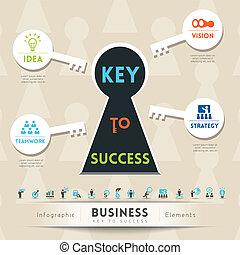 ilustração, tecla, negócio, sucesso
