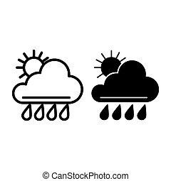 ilustração, teia, estilo, vetorial, 10., esboço, sol, meteorologia, isolado, chuva, eps, app., white., tempo, projetado, icon., linha, desenho, glyph