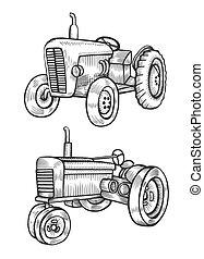 ilustração, tem rodas, trator