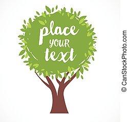 ilustração, texto, árvore, vetorial, lugar, fundo