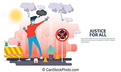 ilustração, tudo, problemas, mascarado, apartamento, desenho, caricatura, sinal, homem, justiça, social, seu, racismo, gesto, protests, mãos, proibição, bandeira, inscrição