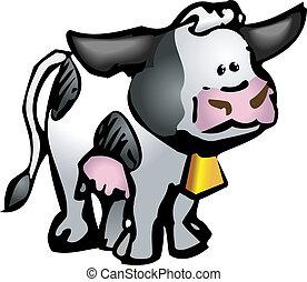 ilustração, vaca