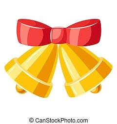 ilustração, vermelho, dourado, sinos, bow.
