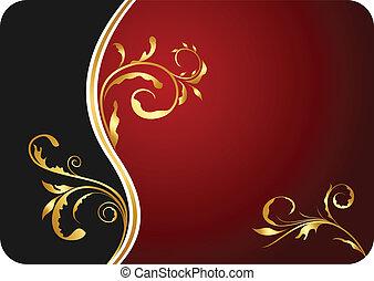 ilustração, vermelho, floral, cartão negócio