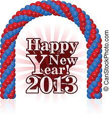 ilustração, vetorial, ano, novo, 2013, feliz
