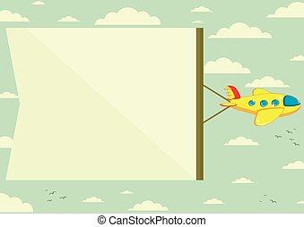 ilustração, vetorial, bandeira, avião
