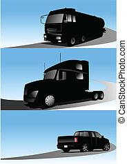 ilustração, vetorial, caminhões