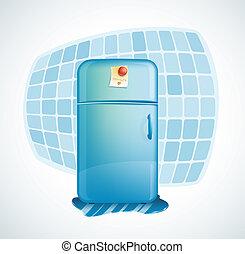 ilustração, vetorial, -, caricatura, refrigerador