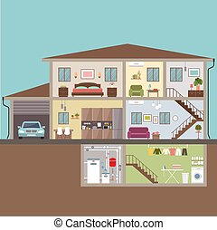 ilustração, vetorial, casa, cut., interior.