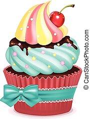 ilustração, vetorial, cupcake