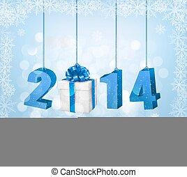 ilustração, vetorial, desenho, ano, novo, template., 2014!,...