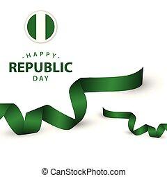 ilustração, vetorial, desenho, modelo, república, nigéria, dia, feliz
