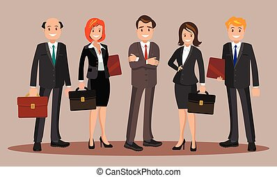 ilustração, vetorial, escritório, staff.