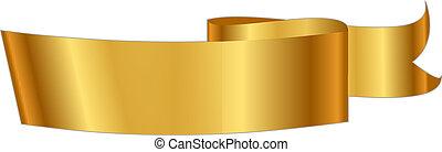 ilustração, vetorial, fita ouro