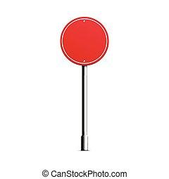ilustração, vetorial, forma, realístico, -, estrada vermelha, em branco, círculo, sinal