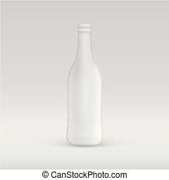 ilustração, vetorial, garrafa, em branco, branca, anunciando