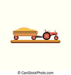 ilustração, vetorial, grão, reboque, fundo, branca, trator, transportar