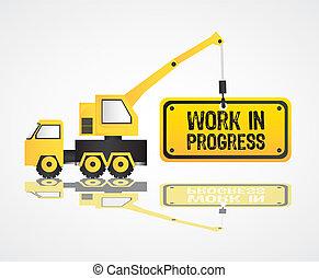 ilustração, vetorial, guindaste, trabalho, progresso, ...