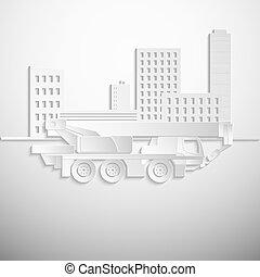 ilustração, vetorial, hidráulico, branca, guindaste, crawler