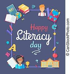 ilustração, vetorial, imagens, feliz, dia, alfabetização
